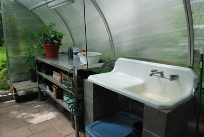 greenhouse bench and sink