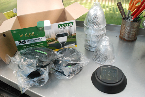 box of parts, solar lights