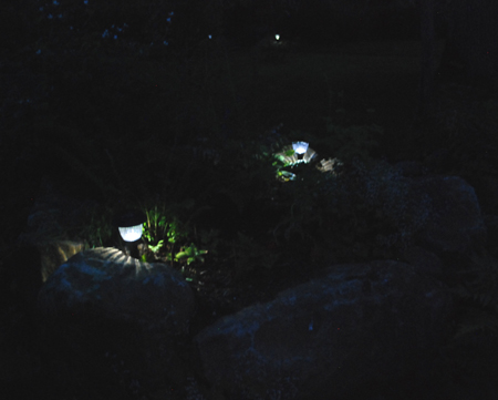 solar lights at night