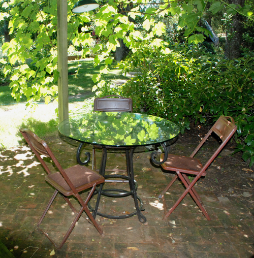 table under the arbor
