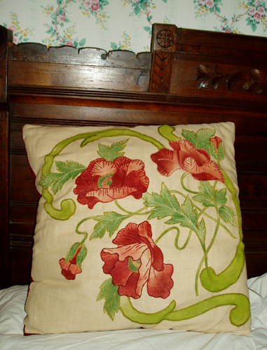 vintage poppy pillow