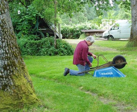 repairing the wheelbarrow