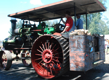 steam tractor with firewood
