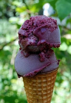 blackberry gelato cone