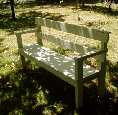 garden bench with new paint