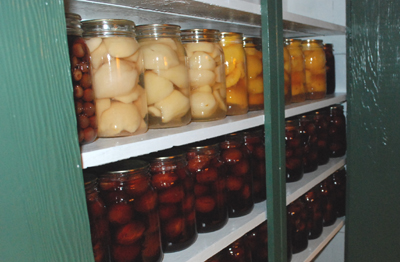 canned fruit in cupboard
