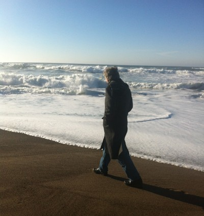 walking the January beach Oregon